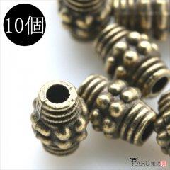 メタルビーズ 10個セット n1/筒状 コイル風 アクセサリーパーツ/ロンデル 金具 (アンティーク(金古美))
