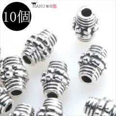 メタルビーズ 10個セット n2/筒状 コイル風 アクセサリーパーツ/ロンデル 金具 (シルバー(銀))