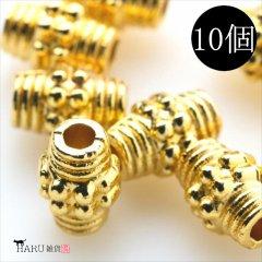 メタルビーズ 10個セット n3/筒状 コイル風 アクセサリーパーツ/ロンデル 金具 (ゴールド(金))