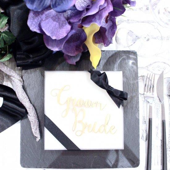 ウッド席札<br>【Groom & Bride】
