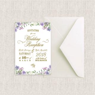 カード型招待状セット(箔押付き) <br>【Sweet pea/Muguet】