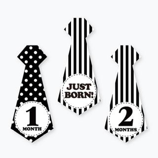 ネクタイ月齢ステッカー<br>【Monotone tie】