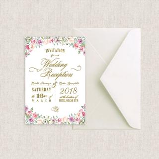 カード型招待状セット(箔押付き)<br>【Flower garden/Muguet】