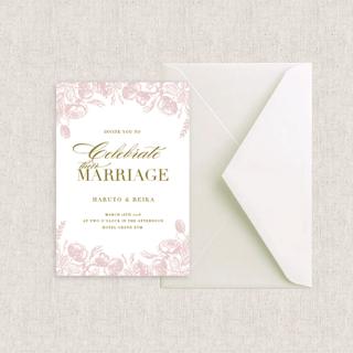 カード型招待状セット(箔押付き)<br>【Dusty rose/Muguet】