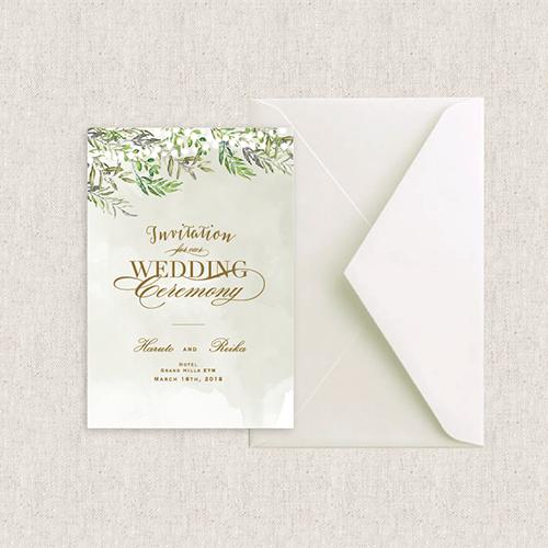 カード型 招待状 Forest green/Muguet