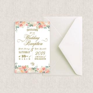 カード型招待状セット(箔押付き)<br>【Peaches&Cream/Muguet】