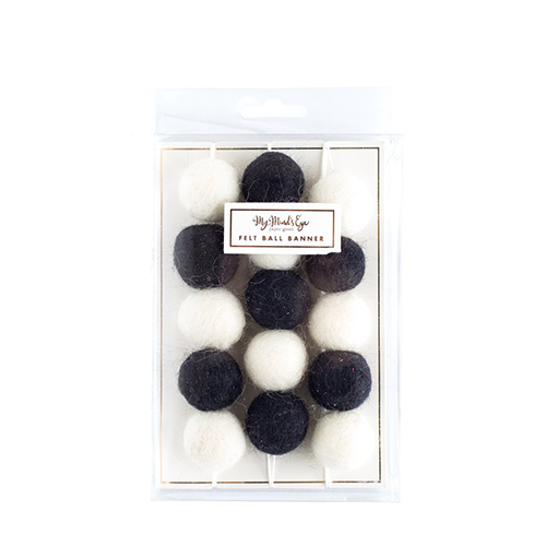 ガーランド<br>【Black & White Felt Ball】