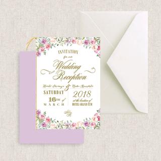 二つ折り招待状セット<br>【Flower garden/Muguet】