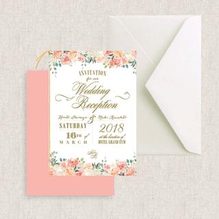 二つ折り招待状セット<br>【Peaches&Cream/Muguet】