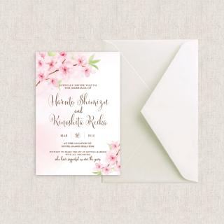 カード型招待状セット<br>【Cherryblossom2】