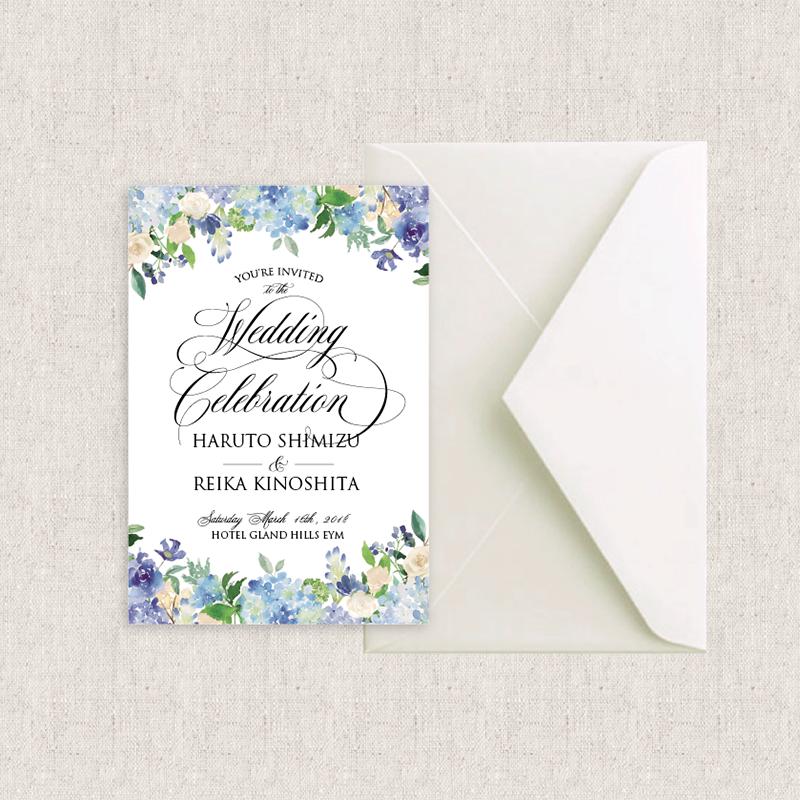 カード型 招待状 Blue flower