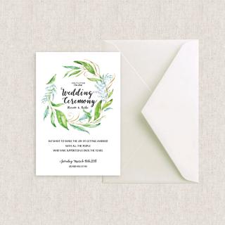 カード型招待状セット<br>【Leaf】