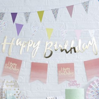 ガーランド<br>【Happy Birthday/Gold】