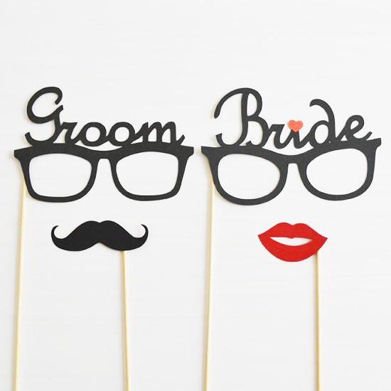 【GROOM & BRIDEメガネ/プロップ4点セット】