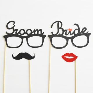 フォトプロップス<br>【GROOM & BRIDEメガネ/プロップ4点セット】