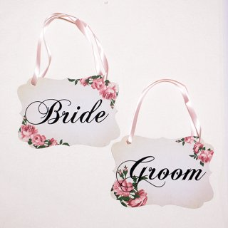 チェアサイン<br>【GROOM & BRIDE/Antique Pink】