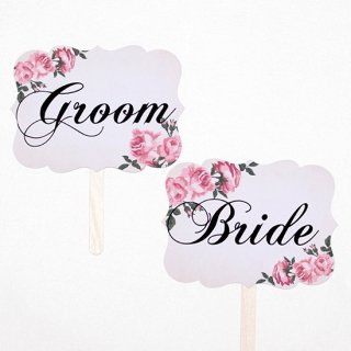 フォトプロップス<br>【GROOM & BRIDE/Antique Pink】