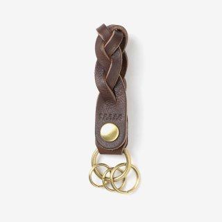 ナチュラルな革の三つ編みキーホルダー | DURAM 三つ編みキーホルダー 12020