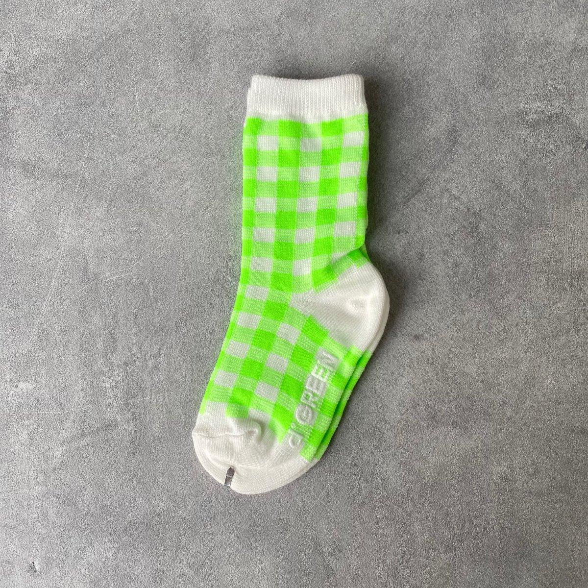 【BABY】Neon Check Socks 詳細画像1