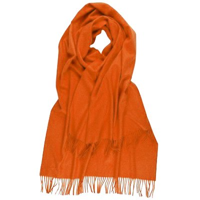 カシミアストールオレンジ/CASHMERE PLAIN STOLE ORANGE STEWART/ WA000056