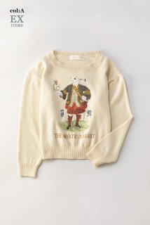 White rabbit embroideryセーター