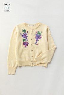 アンゴラヤーン grape embroideryカーディガン