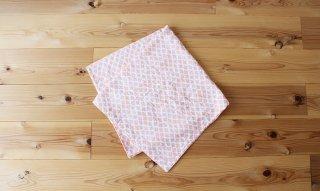 フード付き4重ガーゼおくるみ:flowertile(ピンク)