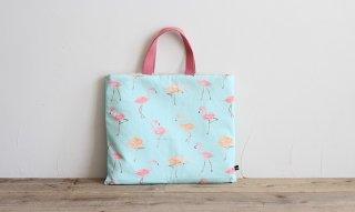 レッスンバッグ(おけいこバッグ)手作りキット:flamingo/ライトブルー
