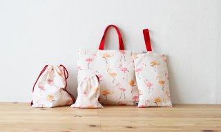 1mで作れる入園グッズ4点セット:flamingo/ピンク