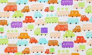 nunocoto fabric:minicar(ホワイト)