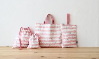 1mで作れる入園グッズ4点セット:sora/ピンク