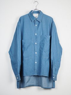 [DIGAWEL] DUNGAREE BIG POCKET SHIRT  -BLUE-