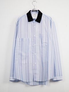 [DIGAWEL] VELVET COLLAR SHIRT -BLUE-