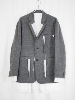 [MIDORIKAWA] OVER JACKET -GRAY-