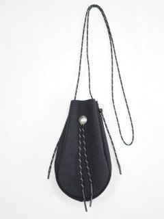 [吉岡衣料店] DRAWSTRING BAG S W/CONCHO -BLACK-