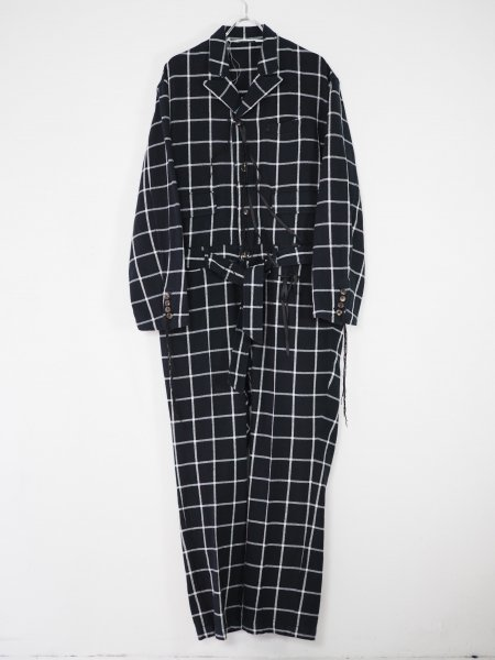 <img class='new_mark_img1' src='https://img.shop-pro.jp/img/new/icons14.gif' style='border:none;display:inline;margin:0px;padding:0px;width:auto;' />[MIDORIKAWA] CHECK JUMPSUIT -NAVY-
