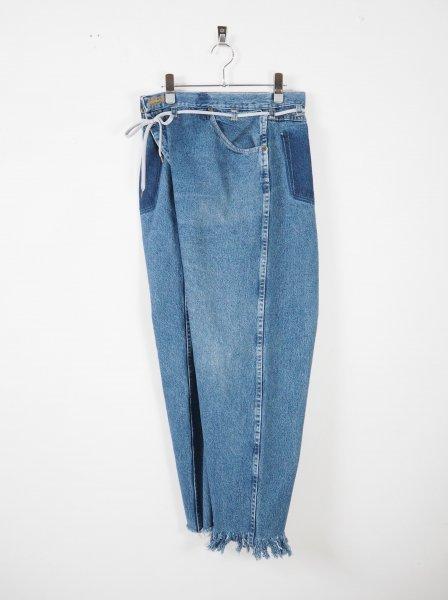 [MAISON EUREKA] VINTAGE REWORK BIGGY PANTS S -BLUE D-