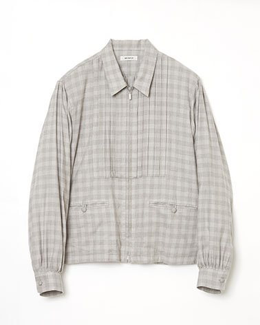 <img class='new_mark_img1' src='https://img.shop-pro.jp/img/new/icons14.gif' style='border:none;display:inline;margin:0px;padding:0px;width:auto;' />[MATSUFUJI] FLANNEL CHECK PLEATS JACKET -BEIGE-