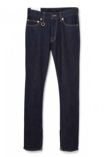 INDIGO STRETCH DENIM ZIP-UP SKINNY TAPERED FIT