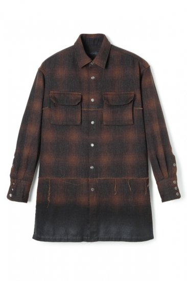 PIGMENT COATING KEMP CHECK RAW-EDGE LONG SHIRT