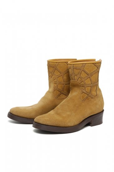SPIDER NET LAYERED SUEDE BACK-ZIP BOOTS