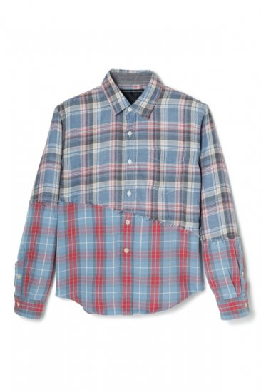 SHREDDED DOUBLE HEM CHECK SHIRT