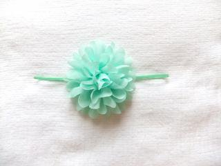 Large Chiffon Flower Headband Mint