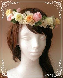 結婚式用の花冠 色変更