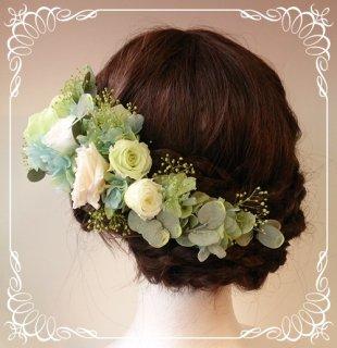 プリザーブドフラワーのヘッドドレス【髪飾り】18パーツセット(色変更1)