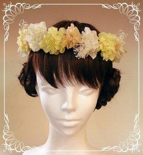 プリザーブドフラワーアジサイの花冠 大人用 【黄色&白】