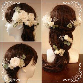 プリザーブドフラワーのヘッドドレス【髪飾り】23パーツセット