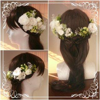プリザーブドフラワーのヘッドドレス【髪飾り】22パーツセット
