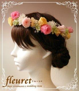 プリザーブドフラワーのバラの花冠 ランダム【色変更】