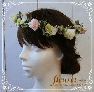 プリザーブドフラワーのバラとユーカリの花冠(ピンク・クリーム)
